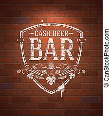 Bar sign painted on brick wall