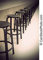 Row of empty bar stools with vintage look