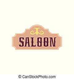 bar, vendange, vecteur, plat, illustration, dessin animé, isolated., enseigne, vieux, occidental