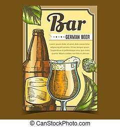 Bar With German Beer Advertising Poster Vector