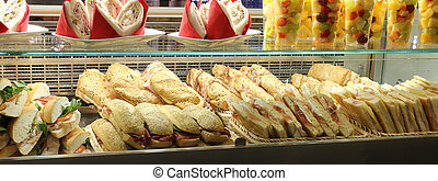 bar with lots of sandwiches
