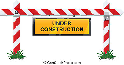 bar with under construction sign vector illustration isolated on background