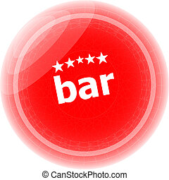 bar word on stickers red button, business label
