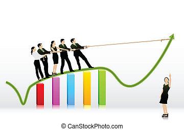 bar, zakenlui, grafiek, het trekken, richtingwijzer