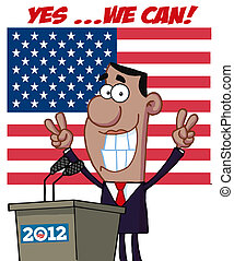 barack, eclats, obama, victoire, signes