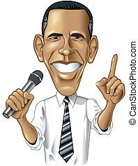 barack, karikatuur, obama