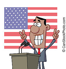 Barack Obama - Smiley Politician Gesturing With Peace Signs...