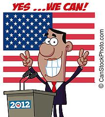 barack, obama, gloort, overwinning, tekens & borden
