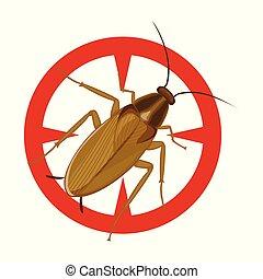 barata, icon., fundo, cockroach., isolado, ícone, vetorial, caricatura, branca
