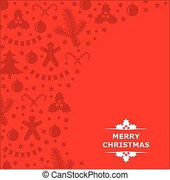 baratijas, fondo rojo, adornado, tarjeta de navidad