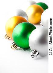 baratijas, oro, navidad, verde, blanco, plata