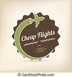 barato, vuelos, insignia