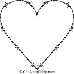 barb or barbed wire heart vector illustration