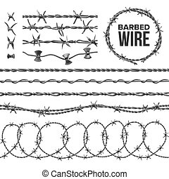 Barb Wire Collection With Razor Detail Set Vector