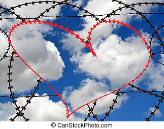 Barb wire heart with sky background