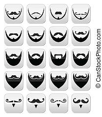 barba, bigode, ve, bigode, ou