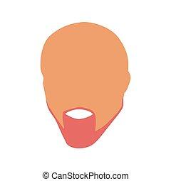 barba, calvo, silueta, homem