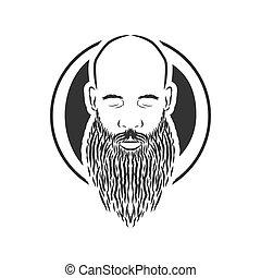 barba, calvo, vindima, estilo, vetorial, homem
