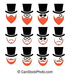 barba, chapéu, gengibre, homem