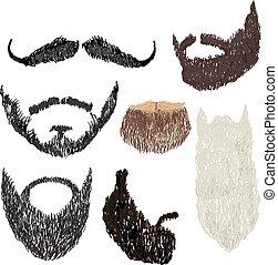barba, con, bigote