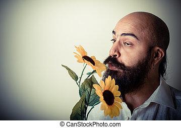 barba, dar, longo, flores, bigode, homem