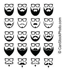 barba, e, occhiali, hipster, icone