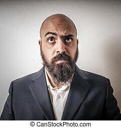 barba, espressioni, strano, uomo, completo