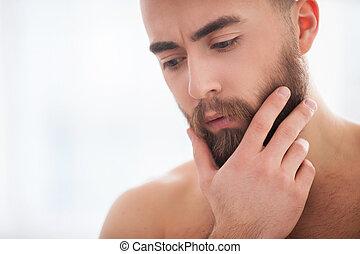 barba, handsome., retrato, de, confiante, jovem, barba,...