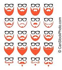 barba, hipster, gengibre, óculos
