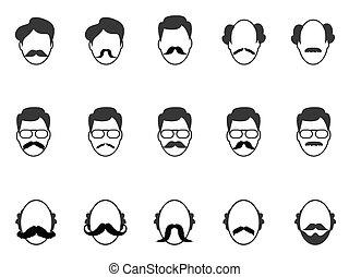 barba, homem, bigode, ícones