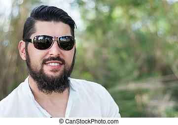 barba, homem, jovem, glasses., bonito