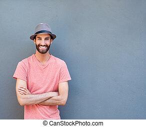 barba, homem sorridente, jovem, fresco