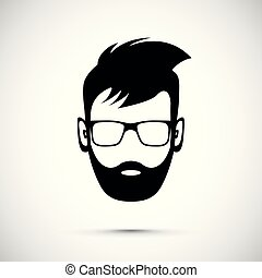 barba, icona, uomo