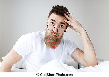 barba, programa, pensativo, através, olha, trendy, manhã, trabalhando, espetáculos, mind., barbudo, seu, planos, awakes, penteado, cima, necessário, solução, pensively, macho, achados, bigode