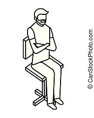 barba, silla, hombre que sienta