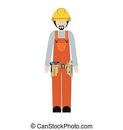 barba, trabajador, juego herramientas, hombre