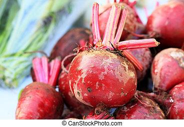 barbabietola rossa, fresco, riprese ravvicinate, mercato