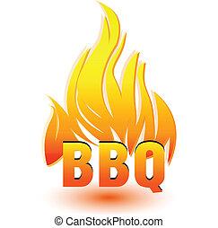 barbacoa, caliente, vector, logotipo