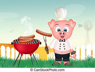 barbacoa, cerdo