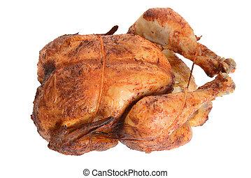 barbacoa, cima, pollo, asado, vista