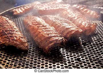 barbacoa, costillas, asó a la parrilla carne, humo, niebla,...