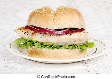 barbacoa, hamburguesa de pollo