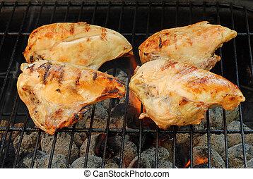 barbacoa, pollo, cocina, pecho