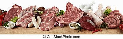 barbacoa, variedad, grande, carne fresca, crudo