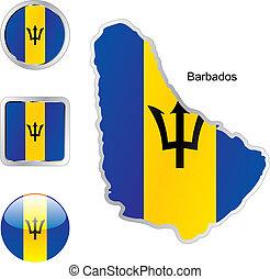 barbade, toile, boutons, formes, drapeau, carte