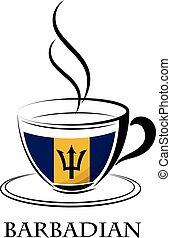 barbadian, café, fait, drapeau, logo