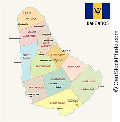 Barbados map with flag vector clipart Search Illustration