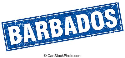 Barbados blue square grunge vintage isolated stamp