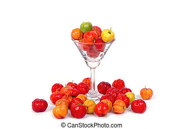 Barbados cherry in cocktail glass