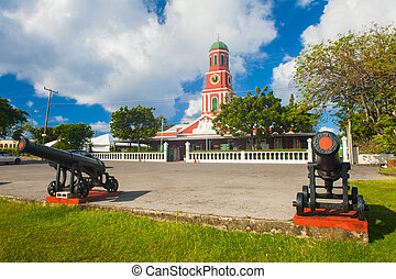Barbados clock tower - Famous red clock tower on the main ...